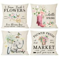 PANDICORN Spring Pillow Covers 18x18 Set of 4 for Home Decor, Country Flower Market Floral Bicycle Butterfly Boots, Farmhouse Welcome Decorative Throw Pillow Cases for Outdoor Porch Couch Decorations