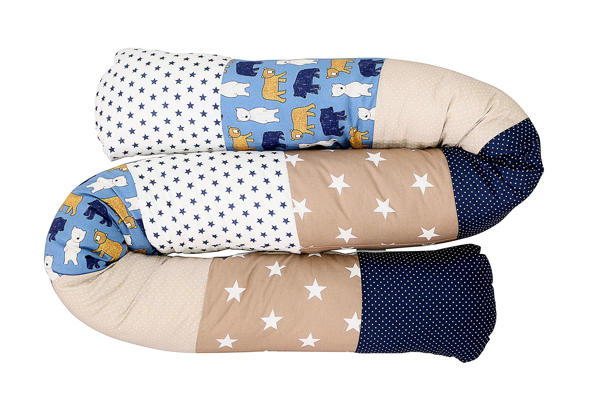 "Snake Pillow Bumper by ULLENBOOM | Bears/Stars/Polka Dots | Toddler Bed/Cot | 79"" Long - Unisex Beige/Blue"