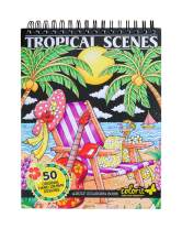 ColorIt Colorful Tropical Scenes Adult Coloring Book - 50 Single-Sided Designs, Thick Smooth Paper, Lay Flat Hardback Covers, Spiral Bound, USA Printed, Tropical Pages to Color
