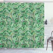 """Ambesonne Asian Shower Curtain, Classic Design Swirl Doodle Floral Illustration Curvy Outline Mehndi Style Retro, Cloth Fabric Bathroom Decor Set with Hooks, 70"""" Long, Lime Green"""