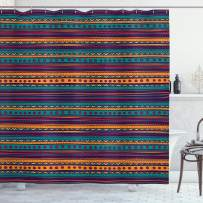 """Ambesonne Tribal Shower Curtain, Striped Retro Pattern with Rich Mexican Color Folkloric Print, Cloth Fabric Bathroom Decor Set with Hooks, 84"""" Long Extra, Teal Plum"""