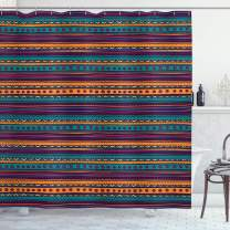 """Ambesonne Tribal Shower Curtain, Striped Retro Pattern with Rich Mexican Color Folkloric Print, Cloth Fabric Bathroom Decor Set with Hooks, 70"""" Long, Teal Plum"""