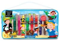 The Piggy Story 'Pirates Ahoy!' 3-in-1 Watercolor Pastel Art Tote with Drawing Pad and 8 Brilliant Twistable Blendable Color Sticks