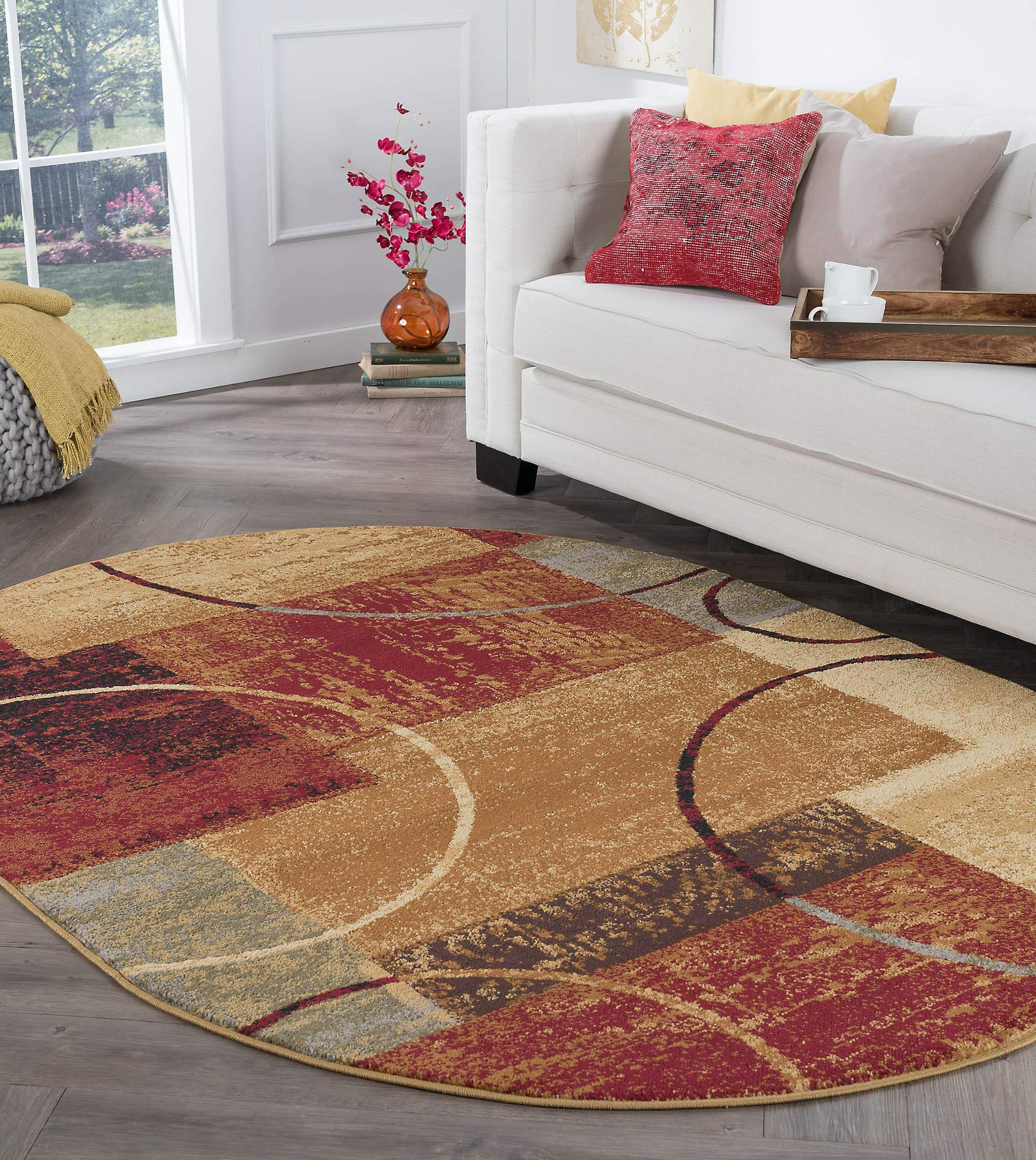 Tacoma Multi-Color 5x8 Oval Area Rug for Living, Bedroom, or Dining Room - Modern, Abstract