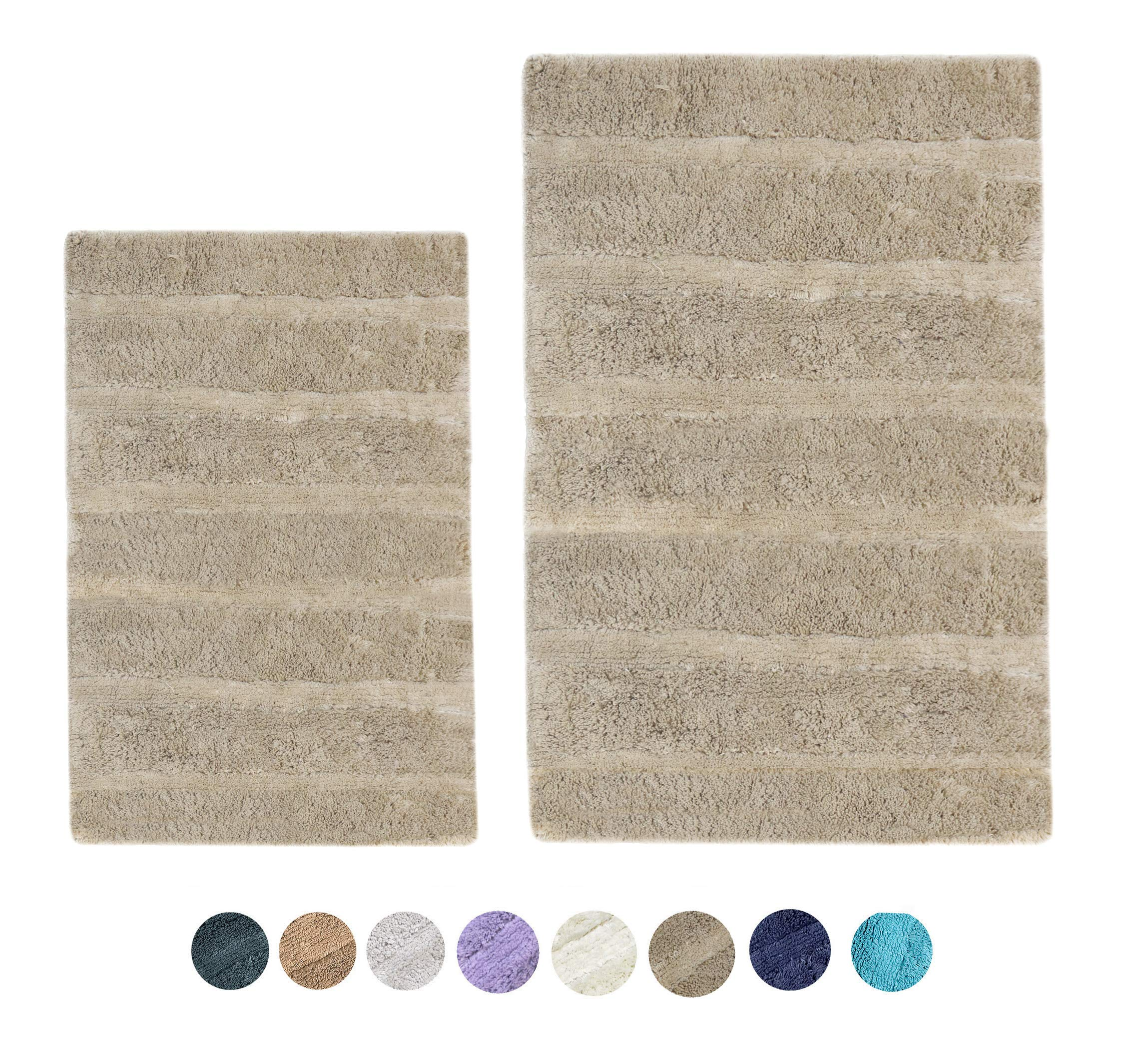 """Woven St Tufted Luxury Cotton 2 Piece Bath Rugs Set for Spa Vanity Shower Super Soft Machine Washable for Bathroom/Kitchen Water Absorbent Anti-Skid Bedroom Area Rugs (17"""" x 24"""" + 21"""" x 34"""")- Taupe"""