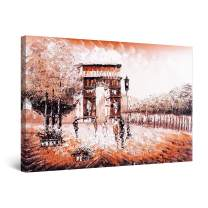 """Startonight Canvas Wall Art Abstract - Landmark in France Arch of Triumph Brown Painting - Large Framed 32"""" x 48"""""""