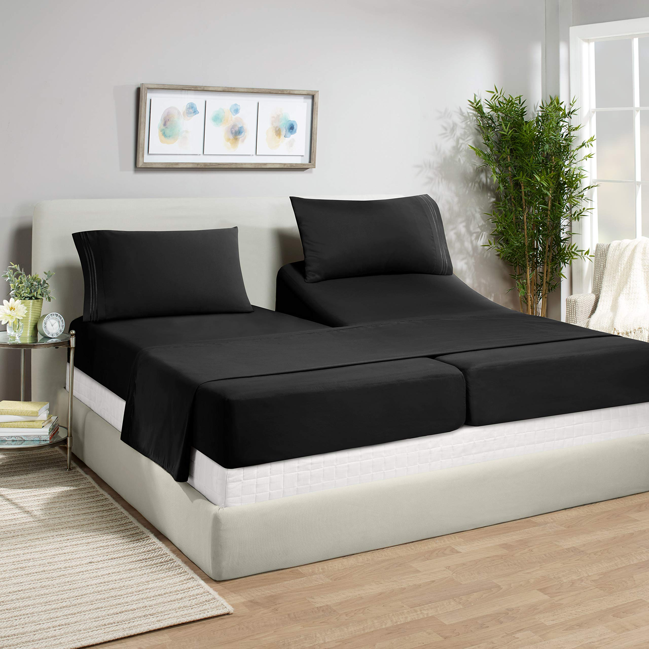 """Empyrean Bedding 14"""" - 16"""" Deep Pocket Fitted Sheet 5 Piece Set - Super Soft Double Brushed Microfiber Top Sheet - Wrinkle Free 2 Fitted Bed Sheets, 1 Flat Sheet and 2 Pillow Cases - Split King, Black"""