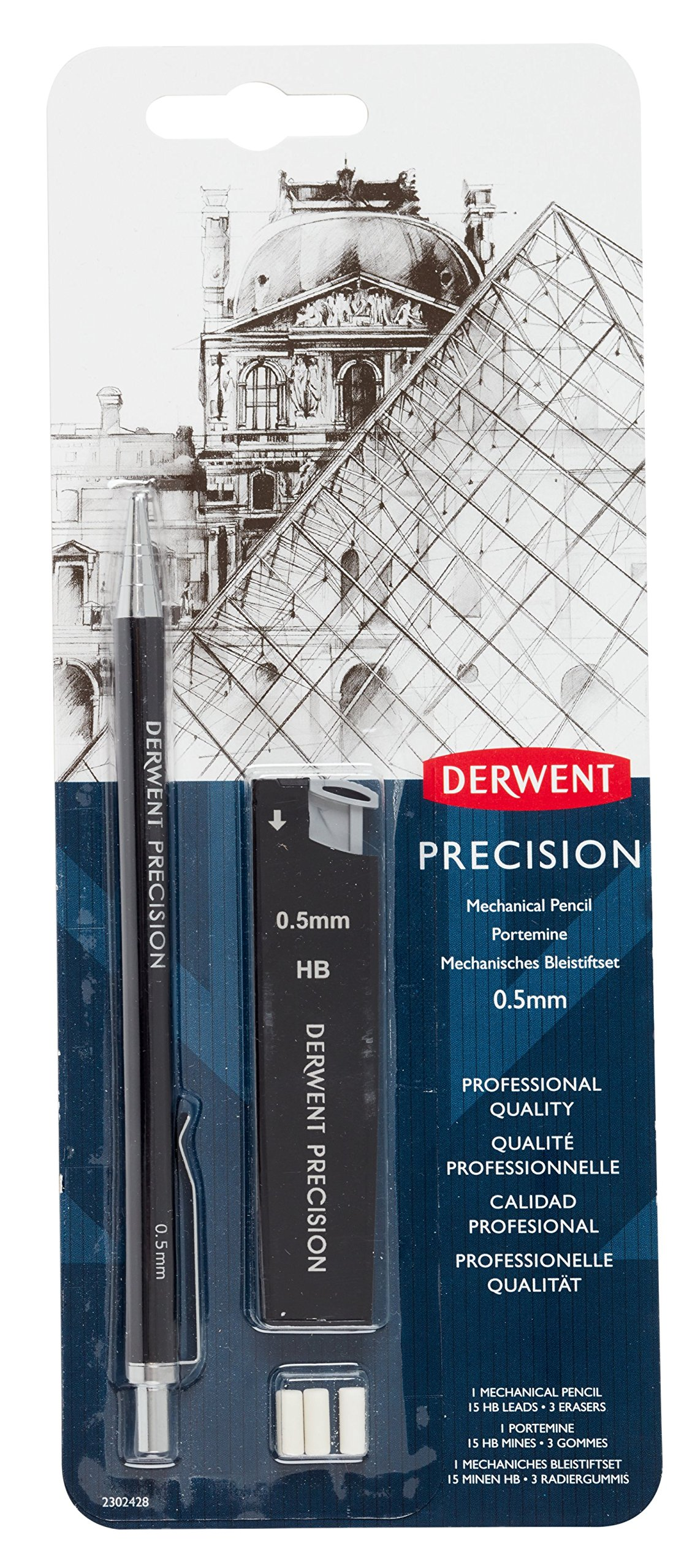 Derwent Mechanical Pencils 0.5, Metal Barrel, Precision, HB (2302428)