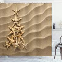 """Ambesonne Starfish Shower Curtain, Christmas Tree from Shells on The Sand Maritime Summer Coast Holiday Vacation, Cloth Fabric Bathroom Decor Set with Hooks, 70"""" Long, Beige"""