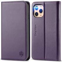 SHIELDON iPhone 11 Pro Max Case, Genuine Leather Auto Sleep Wake iPhone 11 Pro Max Flip Magnetic Wallet Shockproof Case Card Holder Kickstand Compatible with iPhone 11 Pro Max (6.5 Inch) - Dark Purple