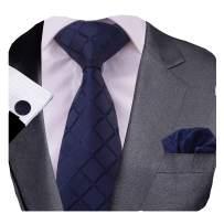 GUSLESON New Design Plaid Tie Handkerchief Cufflinks Set