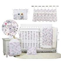 Brandream Baby Girl Butterfly Crib Bedding Sets with Bumper Pad Pink Butterfly Floral Nursery Tassel Bedding 11 Piece Boho Cradle Set 100% Cotton, Chic