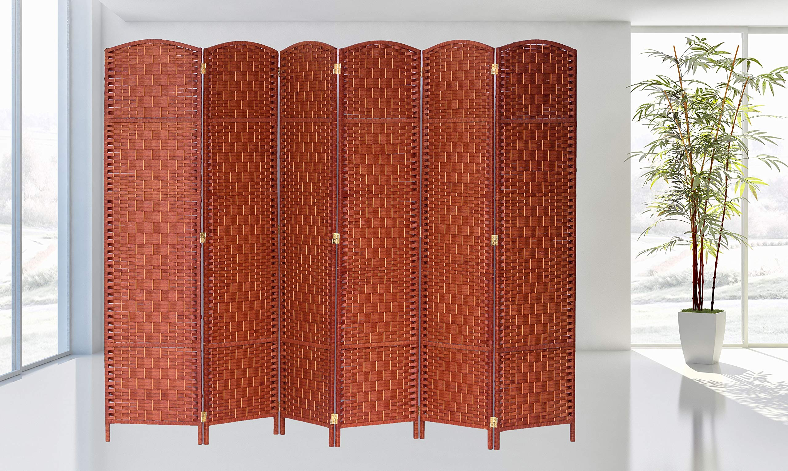 Legacy Decor Diamond Weave Fiber Room Divider (6 Panel, Honey)