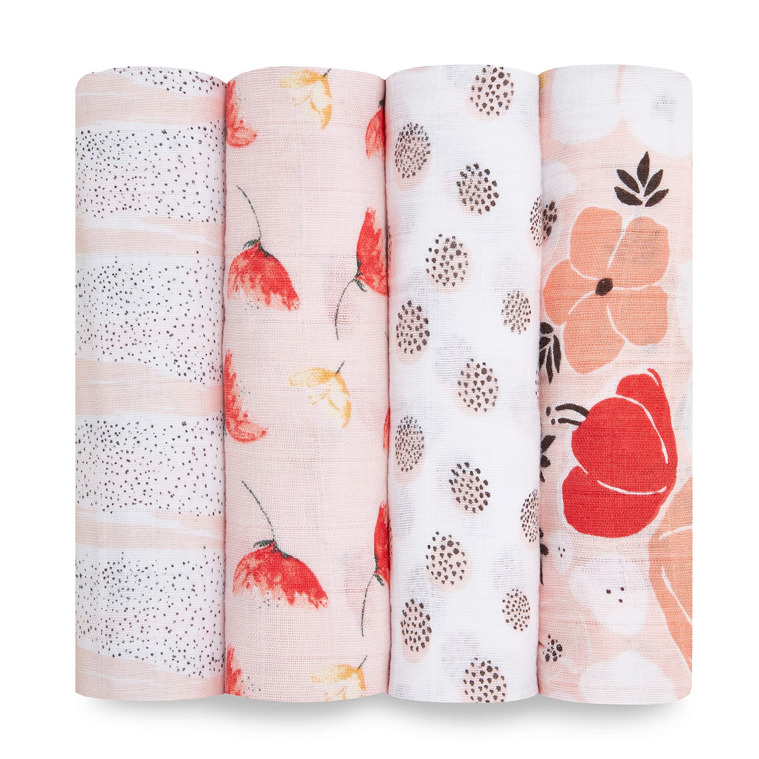 aden + anais Swaddle Blanket, Boutique Muslin Blankets for Girls & Boys, Baby Receiving Swaddles, Ideal Newborn & Infant Swaddling Set, Perfect Shower Gifts, 4 Pack, Picked for You