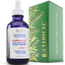 BOTANICAL HAIR GROWTH LAB - Anti-Hair Loss Scalp Serum - HerbalCeutical CAPSAICIN+ Oil-Free Formula (Step 1) - Hair Loss Prevention for Men & Women, Alopecia Postpartum DHT Blocker - 4 Oz