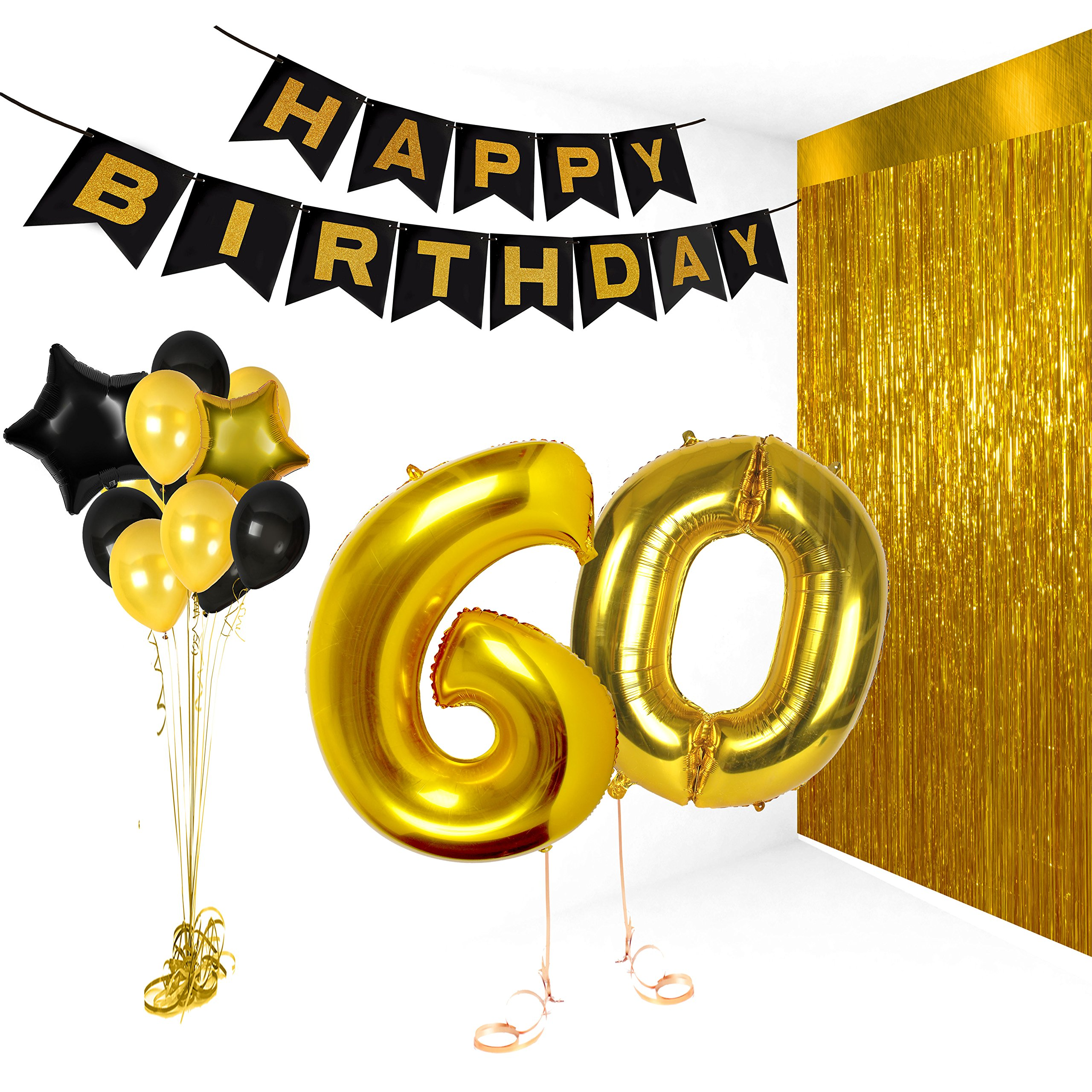 Happy 60th Birthday Party Supplies Black Banner Gold Black Balloons Large 60 Foil Number Balloon Black Gold Foil Star Balloon Gold Metallic Tinsel Curtain Photo Booth Props Unique Party Supplies
