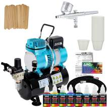 Master Airbrush Cool Runner II Dual Fan Air Storage Tank Compressor System Kit with Gravity Feed Airbrush, 6 Color Acrylic Paint Artist Set, Hose, Holder, Mixing Cups Sticks, How-to Airbrush Guide