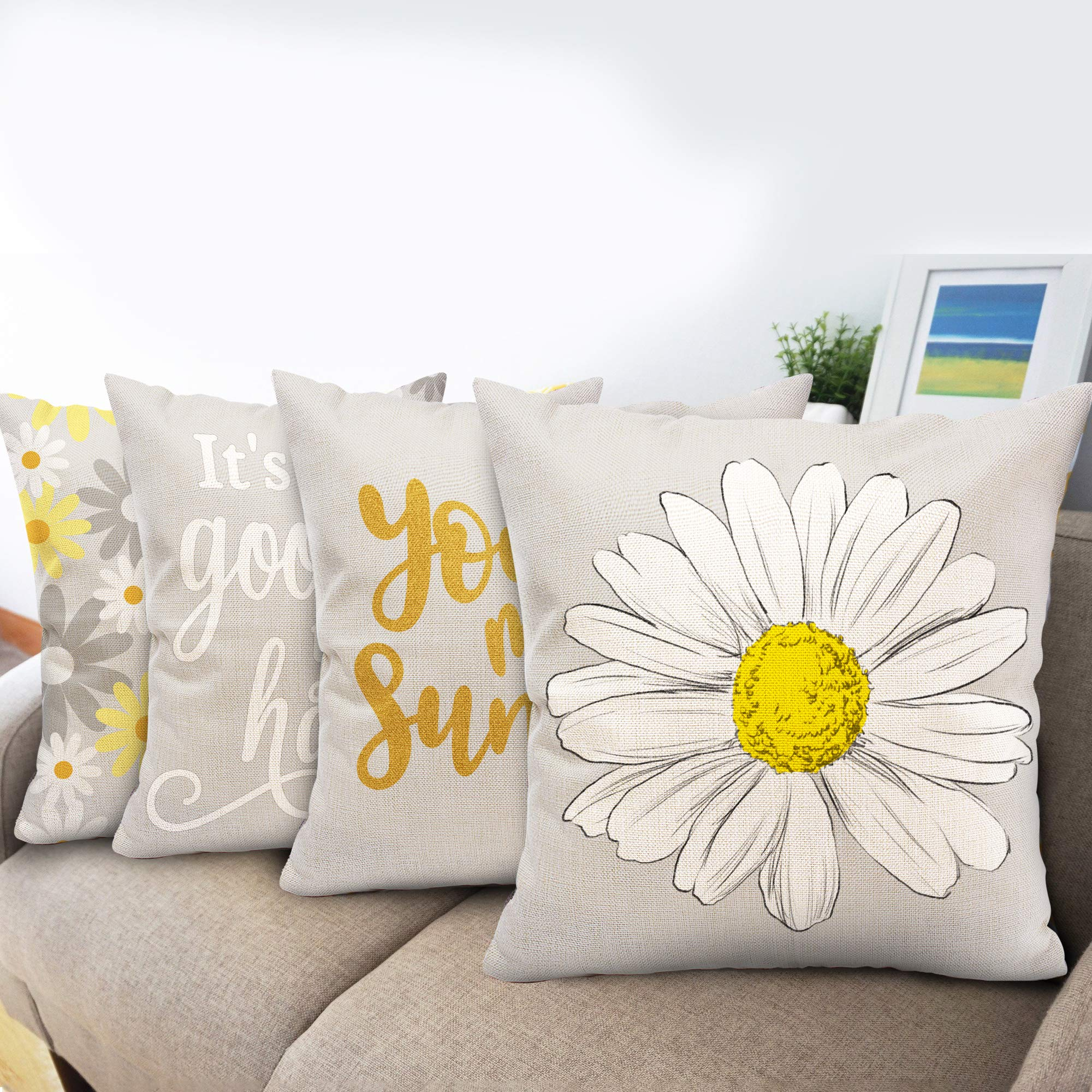 Hexagram Decorative Yellow and Grey Pillow Covers 16 x 16, Summer Yellow Throw Pillow Covers Set of 4 Sunflower Room Decor for Living Room Couch Sofa Patio Cushion Linen Outdoor Yellow Gray Home Decor