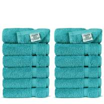 Chakir Turkish Linens Turkish Cotton Luxury Hotel & Spa Bath Towel, Wash Cloth - Set of 12, Aqua