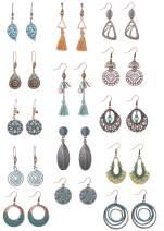 LOYALLOOK 14Pairs Vintage Boho Earrings Dangle Pendant Earrings Alloy Long Bohemian Retro Drop Earrings Set for Women