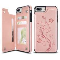 UEEBAI Case for iPhone 6 6S,Luxury PU Leather Case [Two Magnetic Clasp] [Card Slots] Stand Function Butterfly Flower Pattern Durable Shockproof Soft TPU Back Wallet Cover for iPhone 6/6S -Rose Gold#2