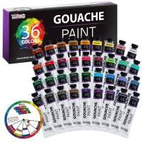 U.S. Art Supply Professional 36 Color Set of Gouache Paint in Large 18ml Tubes - Bonus Color Mixing Wheel