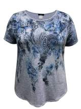 LEEBE Women's Plus Size Short Sleeve Print Top (1X-5X)