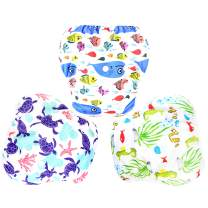 Langsprit 3 Pack Swim Diaper for Baby & Toddle,Reuseable Washable Diaper Swim for Swimming Lesson & Baby Shower Gifts ( L, Underwater World)