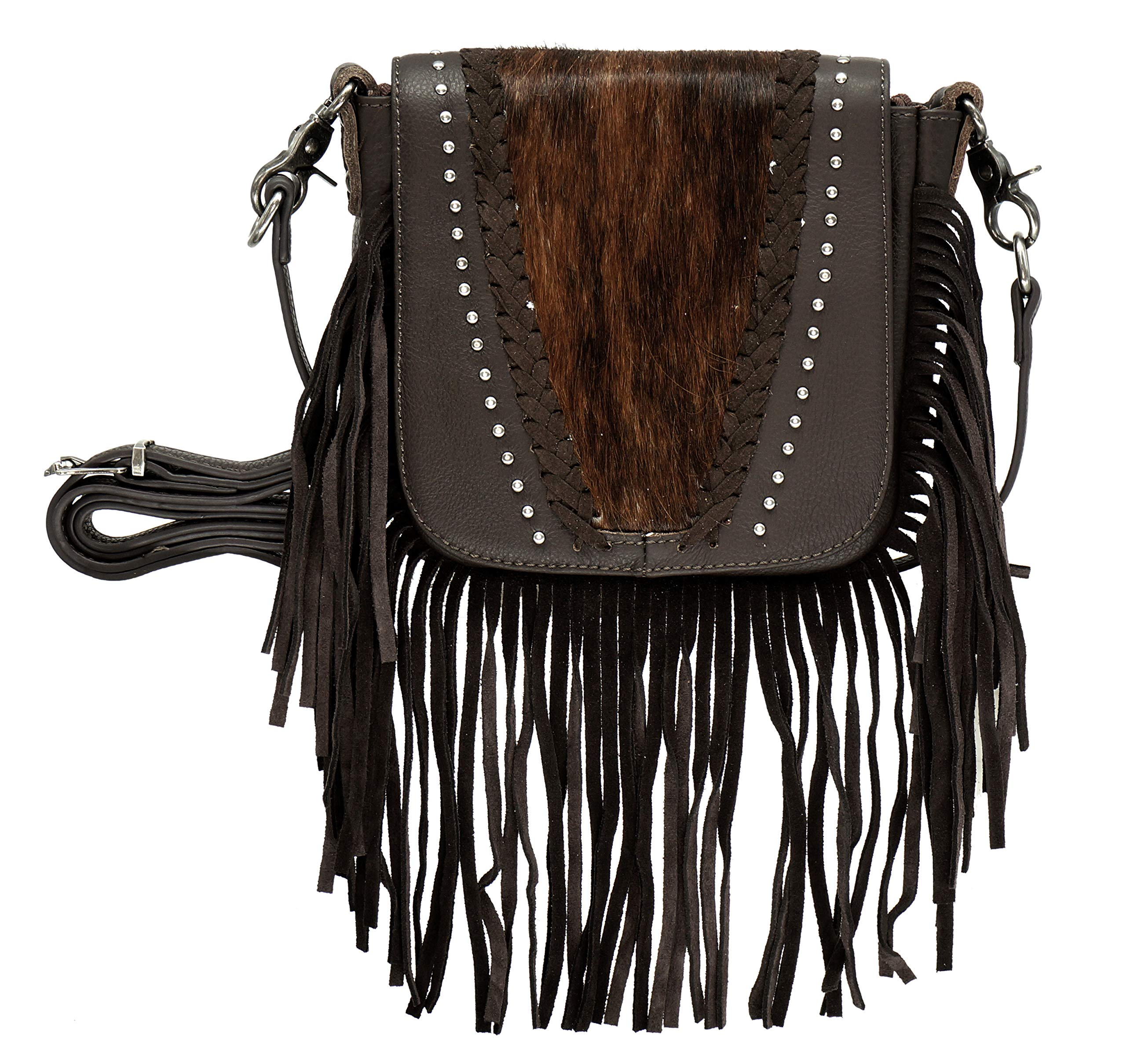 Montana West Real Leather Western Fringe Crossbody Small Purse For Women