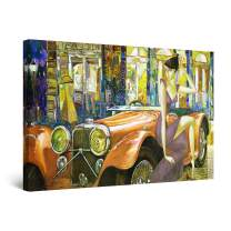 """Startonight Canvas Wall Art Abstract - Golden Retro Car, Dog and Woman Painting - Large Artwork Print for Living Room 32"""" x 48"""""""