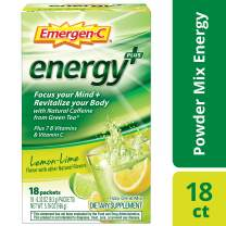 Emergen-C Energy+, With B Vitamins, Vitamin C And Natural Caffeine From Green Tea (18 Count, Lemon Lime Flavor) Dietary Supplement Drink Mix, 0.33 Ounce Powder Packets