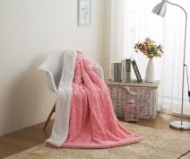 """DaDa Bedding Luxury Throw Blanket - Lap Fluffy Cuddly Rose Buds Soft Faux Fur Sherpa - Warm Plush Textured for Lap or Sofa - Bright Vibrant Blushing Rosey Baby Pink & White - 50"""" x 60"""""""