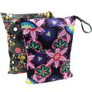 Wegreeco 2 Pack Premium Wet Bag,Baby Wet Dry Cloth Diaper Bags, Waterproof Reusable Wet Bags for Swimsuits, Wet Clothes,Soiled Baby Items with 2 Zipper Pockets Size (Flower and Dotty)