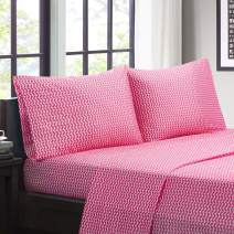 """Intelligent Design Microfiber Wrinkle Resistant, Soft Sheets with 12"""" Pocket Modern, All Season, Cozy Bedding-Set, Matching Pillow Case, Full, Chevron Pink 4 Piece"""