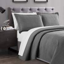 Love's cabin Spring Quilt Set King Size (106x96 inches) Grey - Line Wave Pattern Lightweight Bedspread - Soft Microfiber Coverlet for All Season - 3 Piece (1 Quilt, 2 Shams)