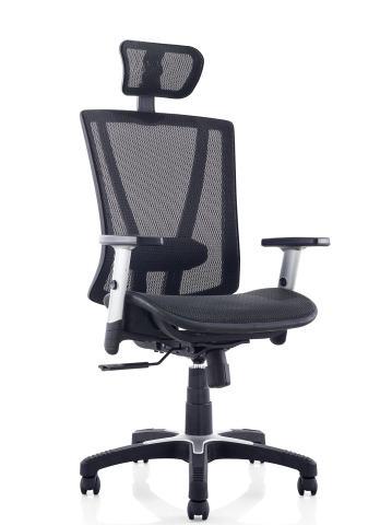 Ergomax Fully Meshed Ergonomic Height Adjustable High Back Office Desk Chair w/Armrests & Headrest, 52 Inch Max, Black
