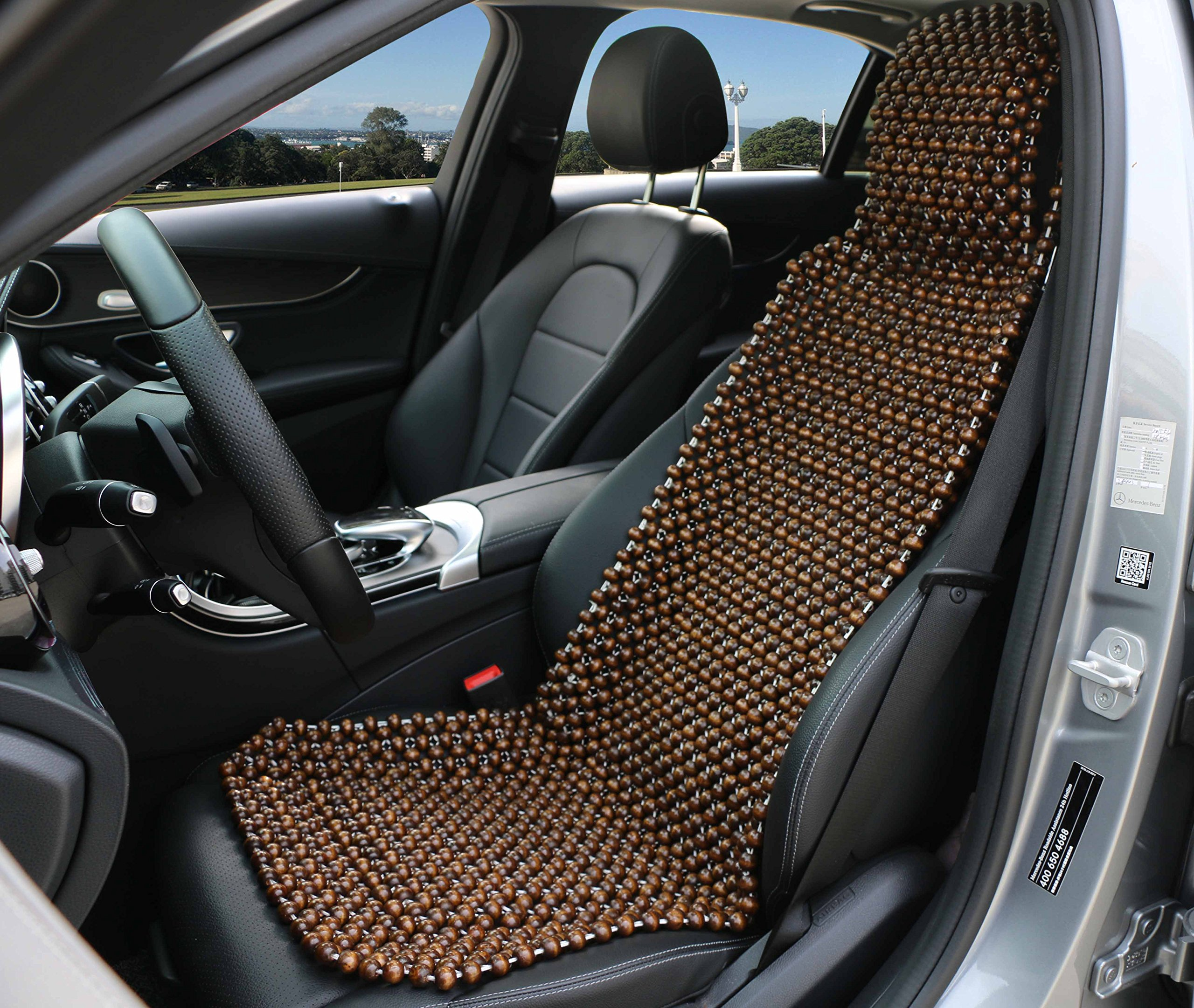 Dr.OX Natural Wood Beaded Seat Cover Massaging Cushion for Car Truck or Your Office Chair