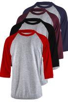TOP LEGGING Men's 4 Pack Regular Fit 3/4 Sleeve Baseball T-Shirt -Cotton Raglan Jersey S-5XL