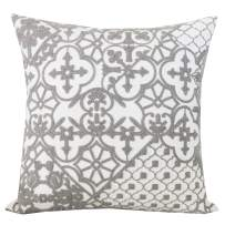 SLOW COW Cotton Embroidery Decorative Throw Pillow Cover Grey Kaleidoscope Design Pattern Cushion Cover 18x18 Inches