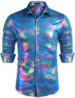 COOFANDY Men's 70s Disco Shirt Long Sleeve Nightclub Sequin Party Shirt Casual Button Down Shirt
