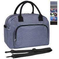 ORASANT Lunch Bag, Large& Durable Insulated Water-resistant Cooler& Thermal Lunch Bag for Women and Men, Fashionable Lunch Box with Detachable Shoulder Strap for Work, School,Picnic, Navy Blue Stripes