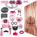 40th BIRTHDAY Photo Props| 40 Birthday Party Supplies| 40th Birthday Decorations| Backdrop Props and Photo Props Included| Party Ideas Decor| 40th Rose gold Photo Props Real glitter| Forty birthday