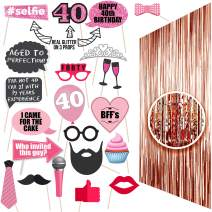 40th BIRTHDAY Photo Props  40 Birthday Party Supplies  40th Birthday Decorations  Backdrop Props and Photo Props Included  Party Ideas Decor  40th Rose gold Photo Props Real glitter  Forty birthday