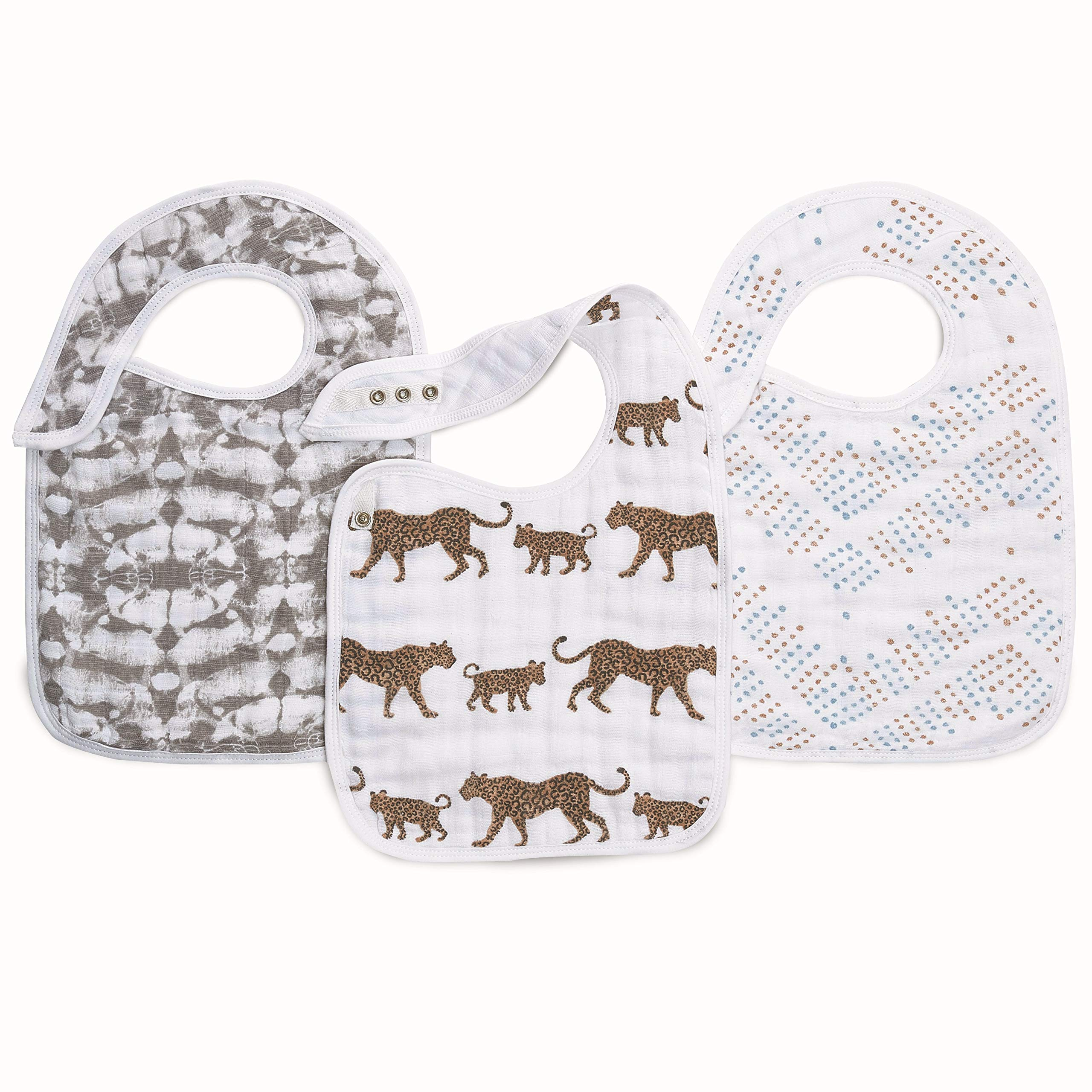 aden + anais Snap Baby Bib, 100% Cotton Muslin, 3 Layer Burp Cloth, Super Soft & Absorbent for Infants, Newborns and Toddlers, Adjustable with Snaps, 3 Pack, Hear Me Roar