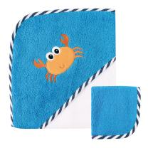 Luvable Friends Unisex Baby Cotton Hooded Towel and Washcloth, Crab, One Size