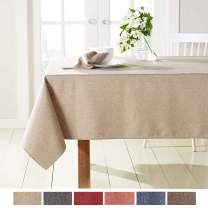 """Town & Country Living Somers Modern Farmhouse Tablecloth, Picnic/Indoor Outdoor/Stain Resistant/Machine Washable Polyester, 52""""x70"""" Rectangle Beige"""