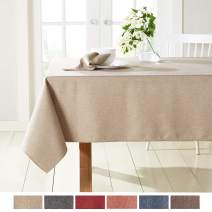 "Town & Country Living Somers Modern Farmhouse Tablecloth, Picnic/Indoor Outdoor/Stain Resistant/Machine Washable Polyester, 52""x70"" Rectangle Beige"