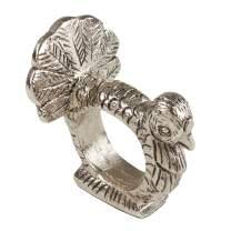 """SARO LIFESTYLE Turkey Napkin Ring Holders (Set of 4), 3.5"""" x 3"""", Silver"""