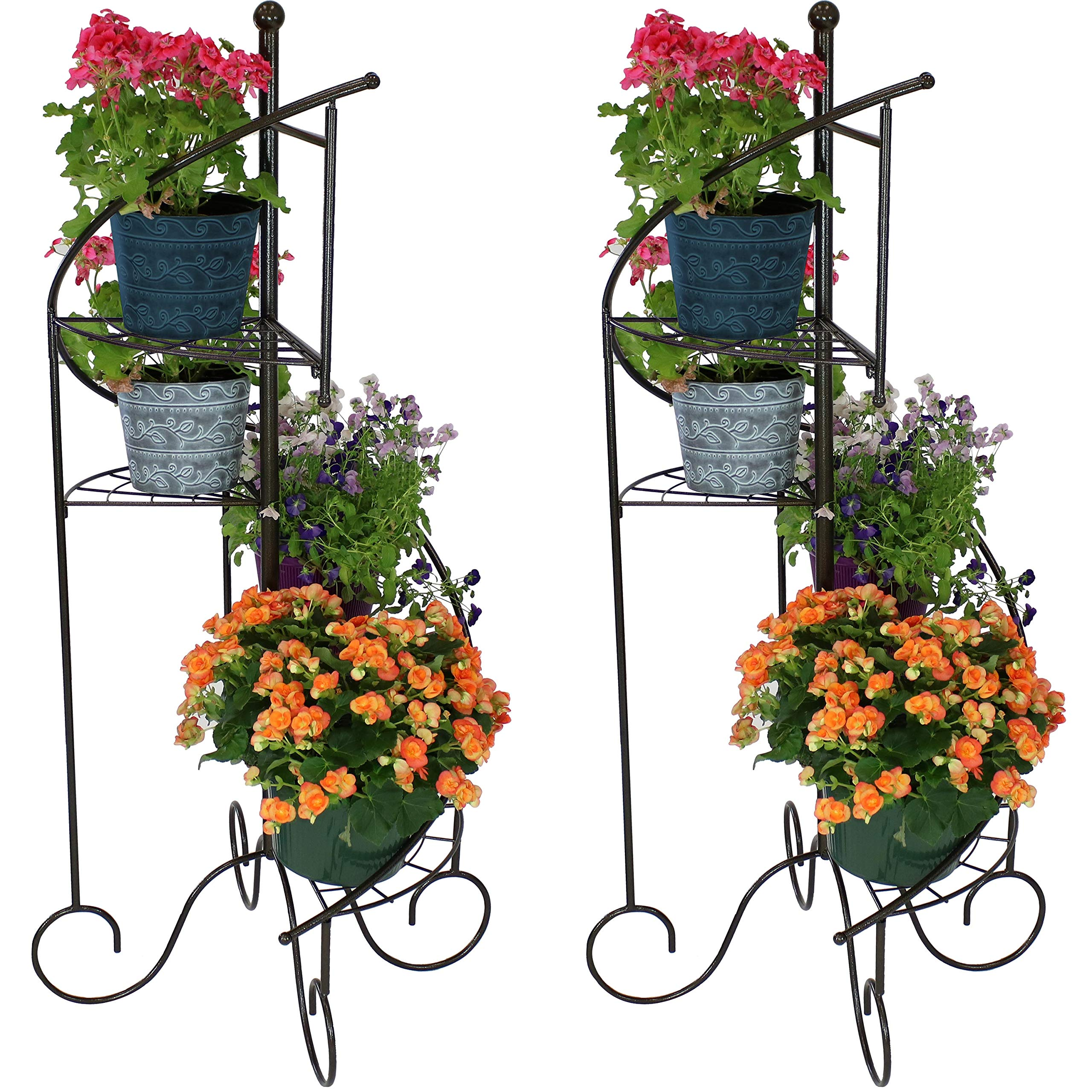 Sunnydaze 4-Tier Metal Iron Plant Stand, Spiral Staircase Design, Set of 2, 56-Inch