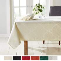 "Town & Country Living Lexington Spring Damask Tablecloth-Traditional/Stain Resistant/Machine Washable/Cotton Polyester Blend, 70""x144"" Rectangle Cream"
